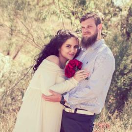 Field Wedding by Matthew Chambers - Wedding Bride & Groom ( love, bride, country, groom, field, maternity, wedding, texas, roses, pregnant )