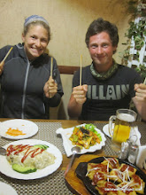 Photo: A celebratory dinner at the North Korean restaurant adjoining our hotel!