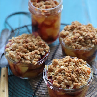 Mini Plum and Peach Bourbon Cobblers.