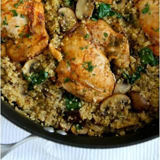 One-Pot Chicken, Quinoa, Mushrooms & Spinach.