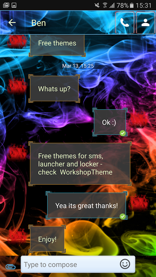 Color Smoke Theme GO SMS Pro- screenshot