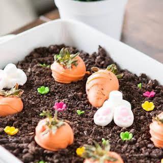 No Bake Chocolate Oreo Bunny Garden Dessert.