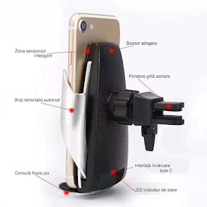 Incarcator auto Wireless cu senzor inteligent si Fast Charger