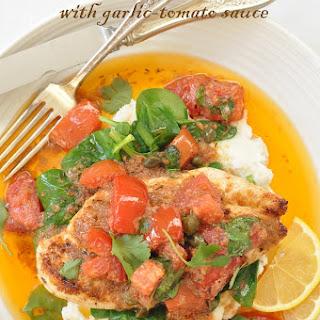 Mediterranean Chicken with Garlic Tomato Sauce.