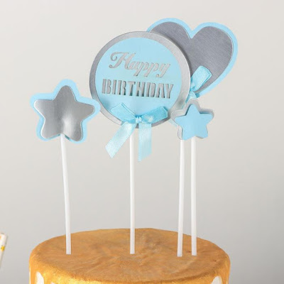 Набор топперов «С днём рождения», 4 шт, 26×11,5 см, цвет голубой