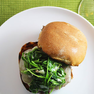 Grilled Burgers with Garlicky Arugula Recipe