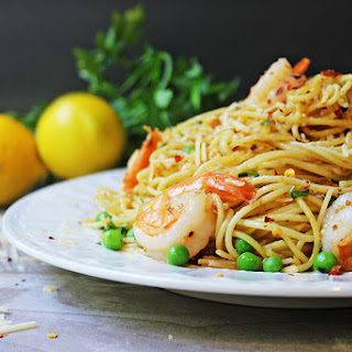 Shrimp Scampi Pasta with Parmesan & Peas