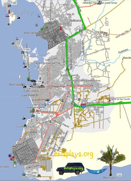 Mapa de Playas del Sector Amuay