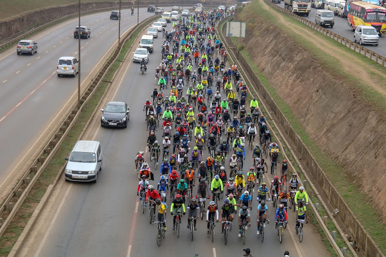 Cyclists at Allsops along Thika Road protesting against reckless road users on September 19 2020.