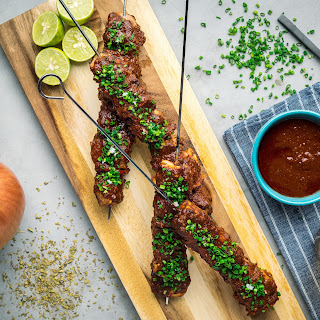 Grilled Pork Anticuchos.