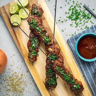 Grilled Pork Anticuchos.