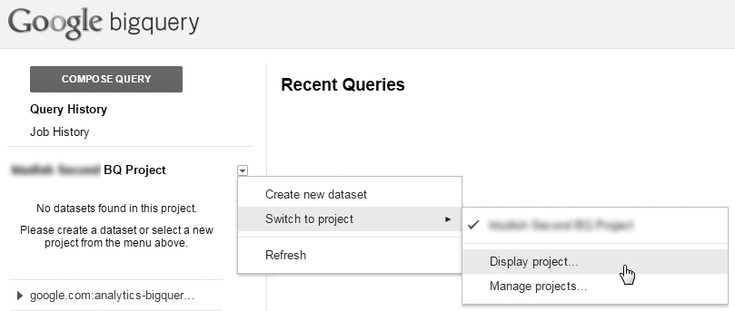 Click this arrow to switch projects in BigQuery.