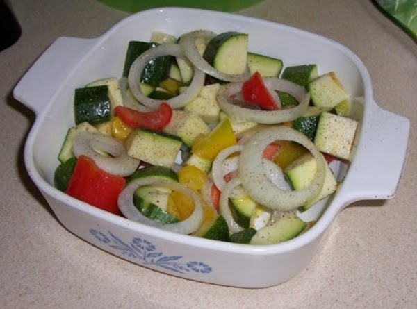 Heat oven to 450 degrees.  In a large roasting pan, combine the zucchini...