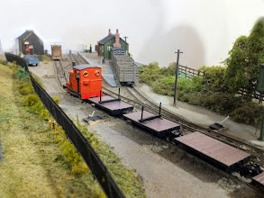 Photo: 020 Reverse angle view of Charlie Insley's Percy conversion and the Peco wagons approaching Green End platform .