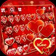 Golden Love Hearts Keyboard Background