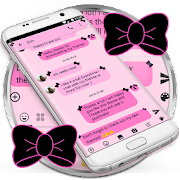 SMS Messages Ribbon Pink Black Theme emoji chat