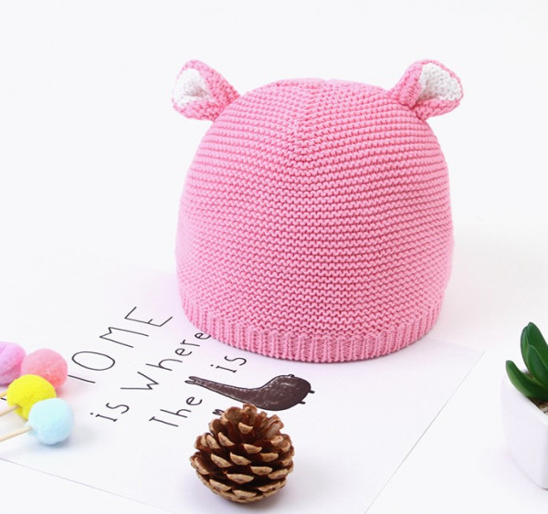 Baby Unisex Bear Ear Knitted Hat