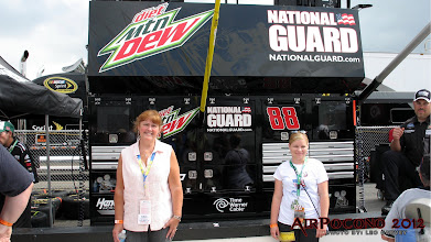 Photo: Gail in front of the Diet Mountain Dew #88 Pit Box. Dale Earnhardt JR of course!
