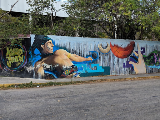 Street art portraying Maya ballgame