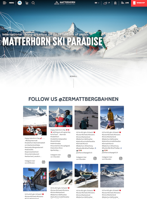 Screenshot of Matterhorn's social media wall. The image shows eight photos of people skiing in the area.