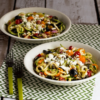 Greek-Style Zucchini Noodles with Tomatoes, Olives, and Feta.