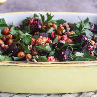 Roasted Beets & Chickpeas with Tahini Sauce.
