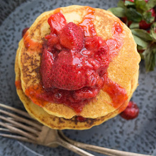 Corn Flour Pancakes with Strawberry Compote (Gluten-Free, Dairy-Free).