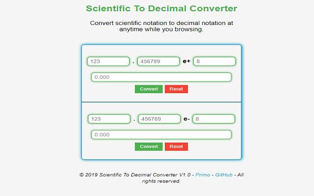 Scientific To Decimal Converter