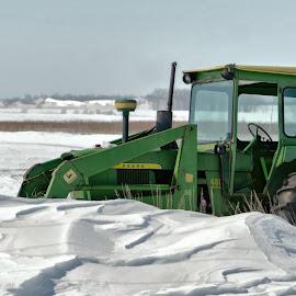 Stuck John Deere by Sheen Deis - Transportation Other ( farm equipment, humor, tractor, stuck, john deere, machinery )