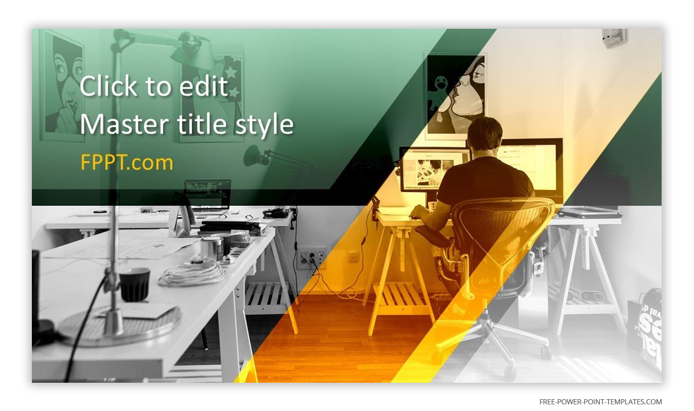This introduction slide showcases a work from home setup by a designer.
