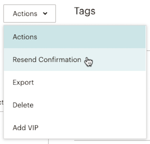 Drop-down menu on contact profile with Resend Confirmation selected.