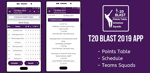 T20 Blast 2019 Points Table, Schedule, Squads