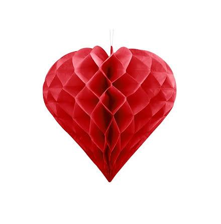Honeycomb Hjärta - röd