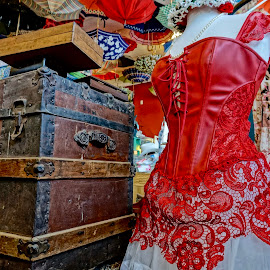 Ruby Red by Barbara Brock - Artistic Objects Antiques ( red, vintage women's wear, vintage underwear, old trunk, antique corset )