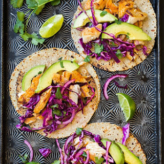 Grilled Fish Tacos with Lime Cabbage Slaw.