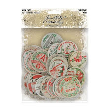 Tim Holtz Idea-Ology Chipboard Milk Caps 50/Pkg - Christmas 2020