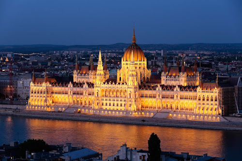 Parliament Building in the evening in Budapest, Hungary.