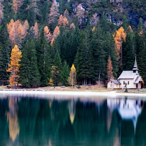 Church On Lake by Raffaello Terreni - Landscapes Waterscapes ( water, church, italia, autumn, lake, long exposure, trentino alto adige, nd filter )