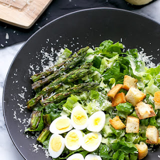 Caesar Salad With Grilled Asparagus And Quail Eggs