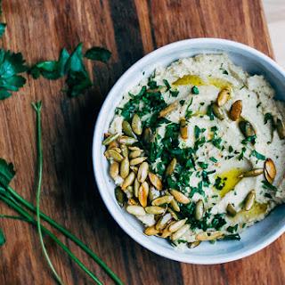 Roasted Cauliflower and Garlic Dip with Toasted Pepitas.