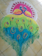 Photo: Beautiful peacock Rangoli art drawn by colleagues at my ex-workplace in 2011 healed my heart. 6th January updated -http://jp.asksiddhi.in/daily_detail.php?id=415