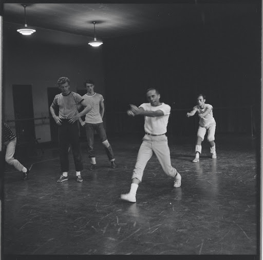 Jerome Robbins directs dancers in rehearsal for the stage production West Side Story