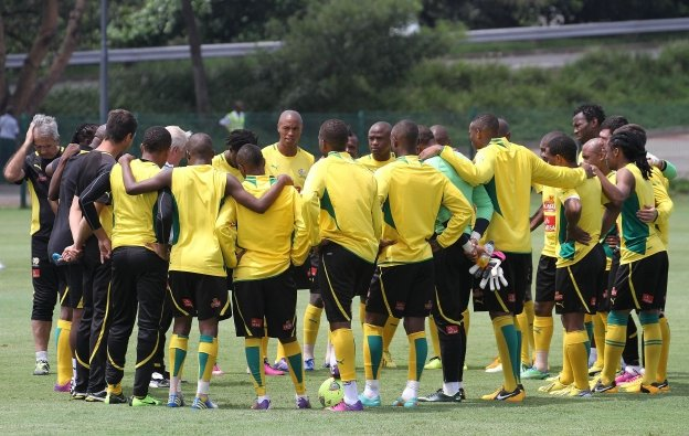 Bafana Bafana players huddle during a training session. File Picture: GALLO IMAGES