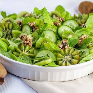 Kiwi Cucumber Salad with Walnuts and Fresh Mint.