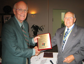 Photo: John Carpenter Award presented to Vice President Bill Ottinger by President Blaine Timmer at the Annual Installation and Awards Banquet at the DeBary Golf and Country Club on June 5, 2010