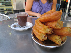 "Photo: This is a typical Spanish breakfast of churros and chocolate dip.  It was also common to eat this with ""café con leche"" or coffee with milk."