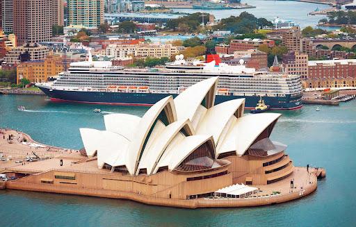 sydney.jpg - Queen Elizabeth docked near the Sydney Opera House.