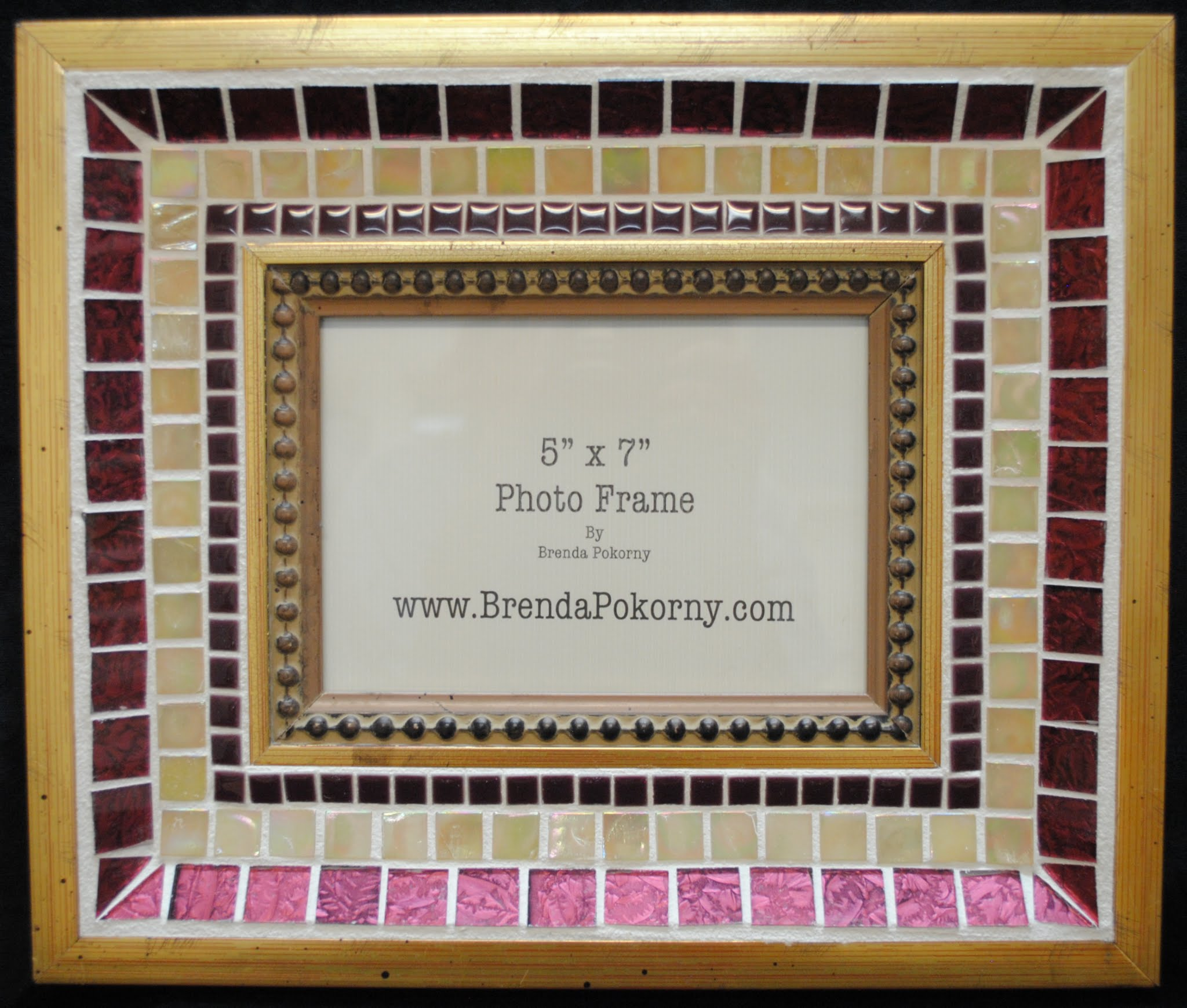 "Ruby & Old Gold 5"" x 7"" Large Mosaic Photo Frame MOF1132"