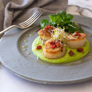 Grilled Scallops And Chorizo With Green Peas Puree.