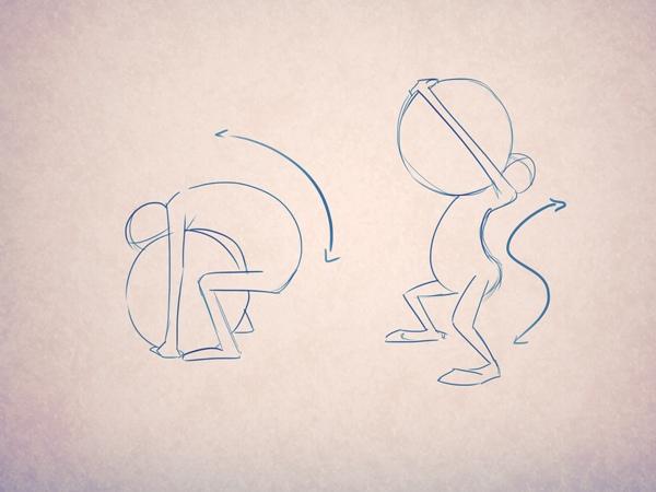 Преувеличение: обратите внимание на траектории движения персонажа. Они помогают подчеркнуть точку приложения силы, с которой он пытается поднять груз. Так вы точно убедите зрителя, что мяч чрезвычайно тяжел!